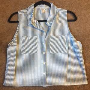 Sleeveless Striped Button Up- Large